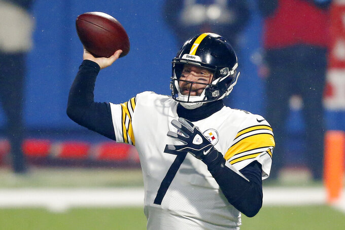 Pittsburgh Steelers quarterback Ben Roethlisberger (7) throws a pass during the first half of an NFL football game against the Buffalo Bills in Orchard Park, N.Y., Sunday, Dec. 13, 2020. (AP Photo/Adrian Kraus)