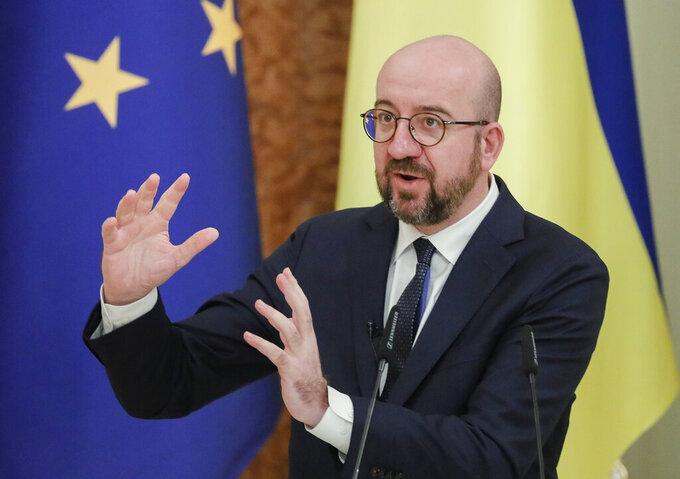 European Council President Charles Michel talks during a joint media conference with Ukrainian President Volodymyr Zelenskiy in Kyiv, Ukraine, Wednesday, March 3, 2021. (Sergiy Dolzhenko/Pool via AP)