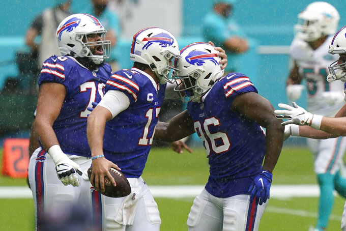 Buffalo Bills quarterback Josh Allen (17) congratulates tight end Reggie Gilliam (86) after Gillam scored a touchdown, during the first half of an NFL football game against the Buffalo Bills, Sunday, Sept. 20, 2020, in Miami Gardens, Fla. (AP Photo/Lynne Sladky)
