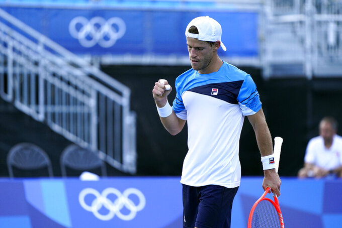 Diego Schwartzman, of Argentina, reacts during a tennis match against Juan Pablo Varillas, of Peru, at the 2020 Summer Olympics, Sunday, July 25, 2021, in Tokyo, Japan. (AP Photo/Patrick Semansky)