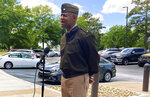 Fort Jackson Commander Brig. Gen. Milford Beagle speaks to reporters, Thursday, May 6, 2021, in Columbia, S.C. Jovan Collazo, an Army trainee, has been arrested and charged with dozens of crimes after authorities say he boarded a South Carolina school bus with a gun Thursday and held the driver and elementary students hostage before letting them off the bus.  (Stephen Fastenau/The Post And Courier via AP)