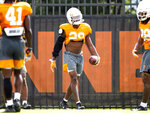 Tennessee defensive back Bryce Thompson (20) participates in an NCAA college football practice Wednesday, Sept. 11, 2019 in Knoxville, Tenn. Tennessee cornerback Bryce Thompson has been cleared to return to practice less than three weeks after his arrest on a misdemeanor domestic assault charge. (Brianna Paciorka/Knoxville News Sentinel via AP)