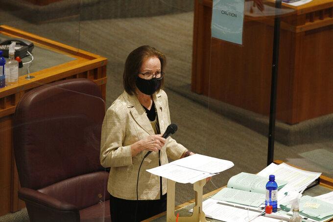 Democratic state Pro Tem Sen. Mimi Stewart, of Albuquerque, speaks on a sick leave during during the annual legislative session on Friday, March 19, 2021, in Santa Fe, N.M. (AP Photo/Cedar Attanasio)