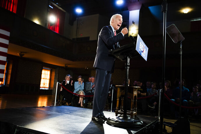 Democratic presidential candidate former Vice President Joe Biden speaks during a campaign event, Wednesday, Oct. 23, 2019, in Scranton, Pa. (AP Photo/Matt Rourke)