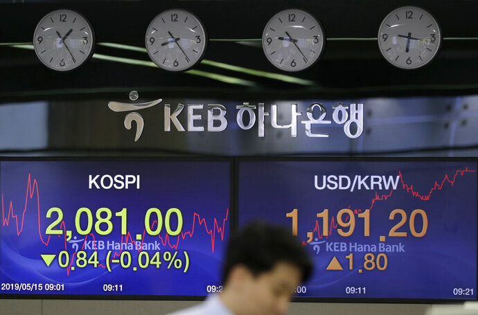 A currency trader watches the computer monitors near the screens showing the Korea Composite Stock Price Index (KOSPI), left, and the foreign exchange rate between U.S. dollar and South Korean won at the foreign exchange dealing room in Seoul, South Korea, Wednesday, May 15, 2019. Asian stocks followed Wall Street higher on Wednesday after President Donald Trump downplayed his escalating tariff war with Beijing and said a settlement is possible.(AP Photo/Lee Jin-man)