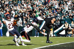 Philadelphia Eagles' Zach Ertz, right, scores a touchdown during the first half of an NFL football game against the Chicago Bears, Sunday, Nov. 3, 2019, in Philadelphia. (AP Photo/Chris Szagola)