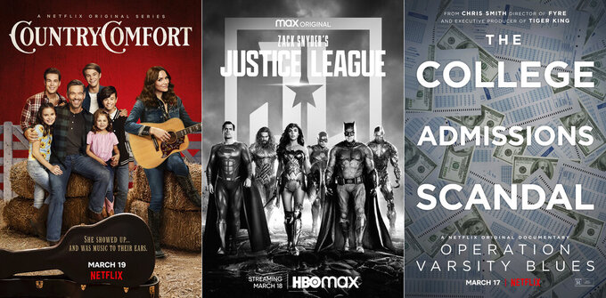 "This combination of photos shows promotional art for the Netflix series ""Country Comfort,"" debuting on Friday, left, ""Zack Snyder's Justice League,"" premiering March 18, center, and ""Operation Varsity Blues,"" a documentary about the college admissions scandal, premiering March 17 on Netflix. (Netflix/HBO Max/Netflix via AP)"