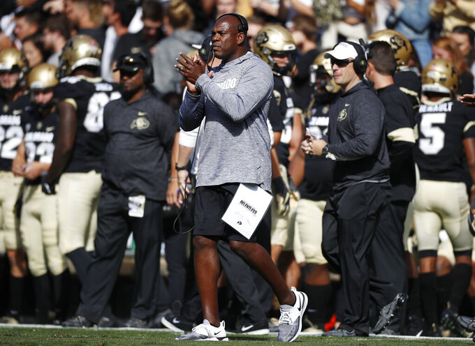 Colorado head coach Mel Tucker directs his team against Arizona in the first half of an NCAA college football game Saturday, Oct. 5, 2019, in Boulder, Colo. (AP Photo/David Zalubowski)