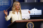 White House press secretary Kayleigh McEnany speaks with reporters about the coronavirus in the James Brady Briefing Room of the White House, Friday, May 22, 2020, in Washington. (AP Photo/Alex Brandon)