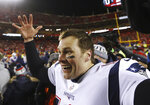 New England Patriots quarterback Tom Brady (12) celebrates after defeating the Kansas City Chiefs in the AFC Championship NFL football game, Sunday, Jan. 20, 2019, in Kansas City, Mo. (AP Photo/Charlie Neibergall)
