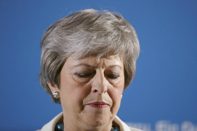 Britain's Prime Minister Theresa May attends the Welsh Conservative party conference at Llangollen, Wales, Friday May 3, 2019. Britain's main Conservative and Labour parties took a hammering in local elections as Brexit-weary voters expressed frustration over the country's stalled departure from the European Union.(Aaron Chown/PA via AP)