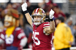 San Francisco 49ers tight end George Kittle (85) celebrates after scoring against the Green Bay Packers during the second half of an NFL football game in Santa Clara, Calif., Sunday, Nov. 24, 2019. (AP Photo/Tony Avelar)