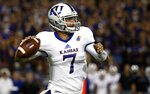 FILE - In this Oct. 21, 2017, file photo, Kansas quarterback Peyton Bender (7) looks to throw against TCU during the first half of an NCAA college football game in Fort Worth, Texas. Kansas opens the season against Nicholls State on Saturday night. (AP Photo/Ron Jenkins)