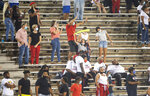 Austin Peay fans cheer during the team's NCAA college football game against Central Arkansas on Saturday, Aug. 29, 2020, in Montgomery, Ala. (Jake Crandall/The Montgomery Advertiser via AP)