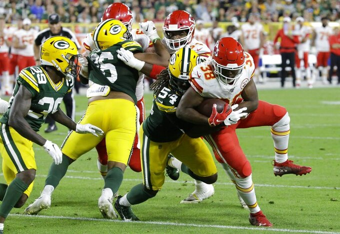 Kansas City Chiefs' Marcus Marshall runs during the first half of a preseason NFL football game against the Green Bay Packers Thursday, Aug. 29, 2019, in Green Bay, Wis. (AP Photo/Mike Roemer)