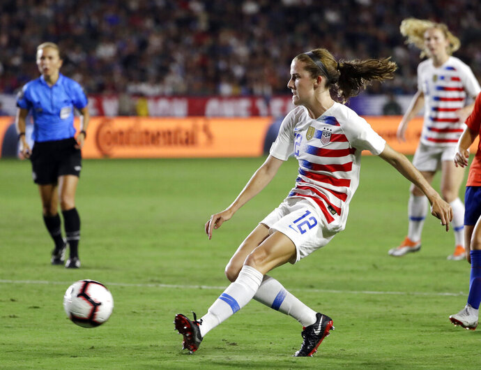 FILE - In this Aug. 31, 2018, file photo, United States' Tierna Davidson shoots against Chile during the second half of an international friendly soccer match, in Carson, Calif. Defender Tierna Davidson has decided to skip her senior season at Stanford and play professionally in the National Women's Soccer League. The NWSL draft was being held on Thursday, Jan. 10, 2019, in Chicago. (AP Photo/Marcio Jose Sanchez, File)