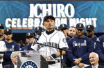 Former Seattle Mariners player Ichiro Suzuki pauses while giving a speech during a ceremony in which he was given Mariners' Franchise Achievement Award, before a baseball game between the Chicago White Sox and the Mariners, Saturday, Sept. 14, 2019, in Seattle. (AP Photo/Stephen Brashear)