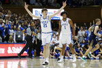 FILE - In this Feb. 15, 2020, file photo, Duke forward Matthew Hurt (21) reacts following a basket against Notre Dame during the second half of an NCAA college basketball game in Durham, N.C. Hurt is Duke's top returning scorer at 9.7 points per game. (AP Photo/Gerry Broome, File)