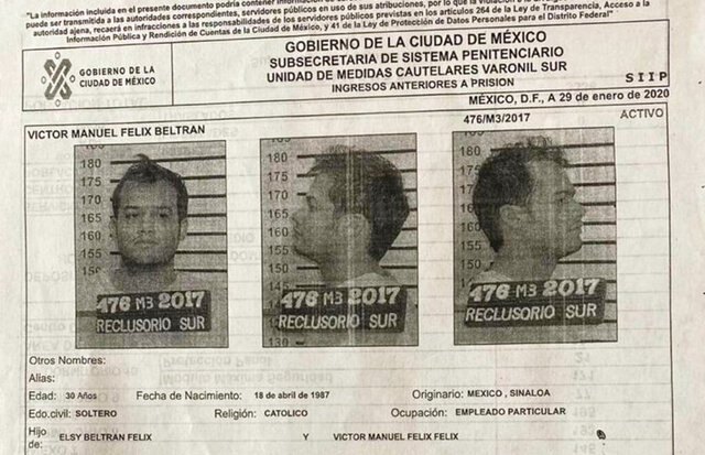 This document provided by the Mexico City government shows the Oct. 28, 2017 mug shots and criminal record of Victor Manuel Felix Beltran, from the Reclusorio Sur jail in Mexico City. Beltran, an important financial operator for the Sinaloa Cartel and two other inmates facing extradition to the United States, escaped from the penitentiary in a jail transport van, city officials said. (Mexico City government via AP)