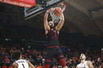 Stanford's Josh Sharma (20) dunks during the second half of an NCAA college basketball game against Oregon State in Corvallis, Ore., Thursday, Feb. 7, 2019. Stanford won 83-60. (AP Photo/Amanda Loman)