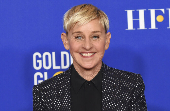 "FILE - Ellen DeGeneres poses in the press room at the 77th annual Golden Globe Awards on Jan. 5, 2020, in Beverly Hills, Calif. DeGeneres says she'll be ready to talk when her daytime show returns this month after a staff shake-up prompted by allegations of a toxic workplace. ""I can't wait to get back to work and back to our studio. And, yes, we're gonna talk about it,"" DeGeneres said in a statement announcing the show's Sept. 21, 2020, start of its 18th season. (AP Photo/Chris Pizzello, File)"