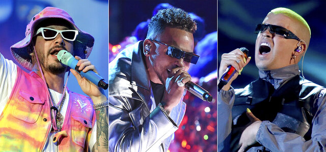 J Balvin performs during the Coca-Cola Flow Reggaeton festival in Mexico City on Nov. 23, 2019, from left, Ozuna performs at the Latin American Music Awards in Los Angeles on Oct. 17, 2019 and Bad Bunny performs a medley at the Billboard Latin Music Awards in Las Vegas on April 25, 2019. Balvin scored a whopping 13 nominations at the 2020 Latin Grammys, including two nominations for album of the year and two for record of the year. The Latin Academy announced Tuesday that Bad Bunny and Ozuna are behind Balvin with nine and eight nominations, respectively. (AP Photo)