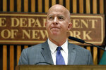 FILE - In this Aug. 19, 2019 file photo New York Police Commissioner James P. O'Neill makes an announcement at police headquarters. Multiple reports on Monday, Nov. 4 say O'Neill is stepping down after three years leading the nation's largest police department. (AP Photo/Richard Drew, File)