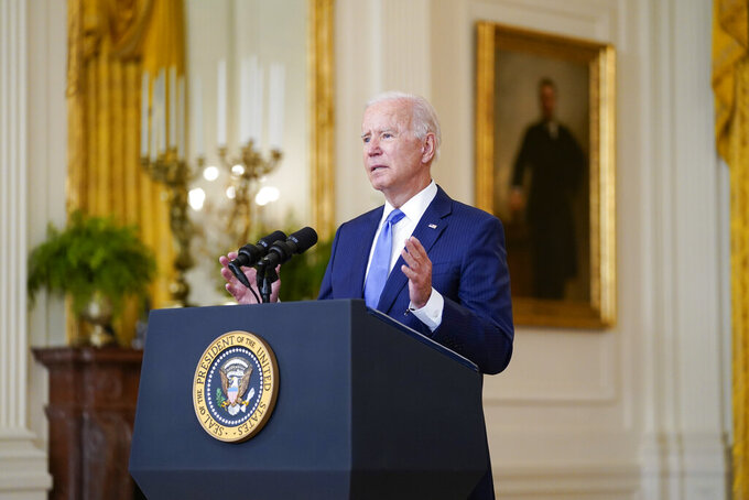 President Joe Biden delivers remarks on the economy in the East Room of the White House, Thursday, Sept. 16, 2021, in Washington. (AP Photo/Evan Vucci)