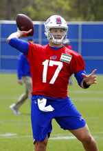 Buffalo Bills rookie quarterback Josh Allen (17) participates in drills during the team's NFL football rookie minicamp, Friday, May 11, 2018, in Orchard Park, N.Y. (AP Photo/Jeffrey T. Barnes)