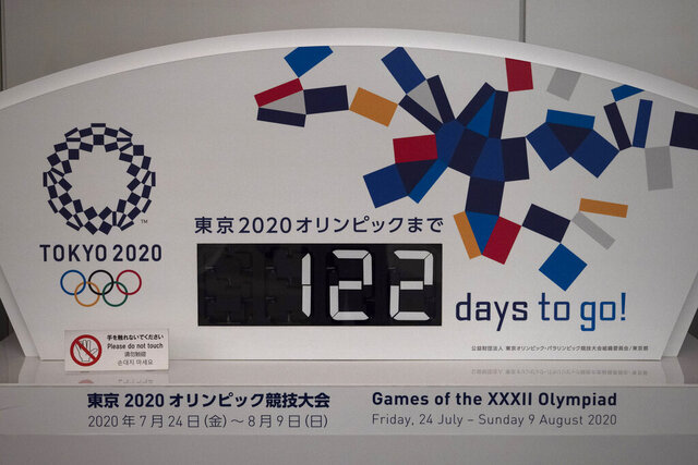A countdown display for the Tokyo 2020 Olympics is photographed in Tokyo, Tuesday, March 24, 2020. IOC President Thomas Bach has agreed
