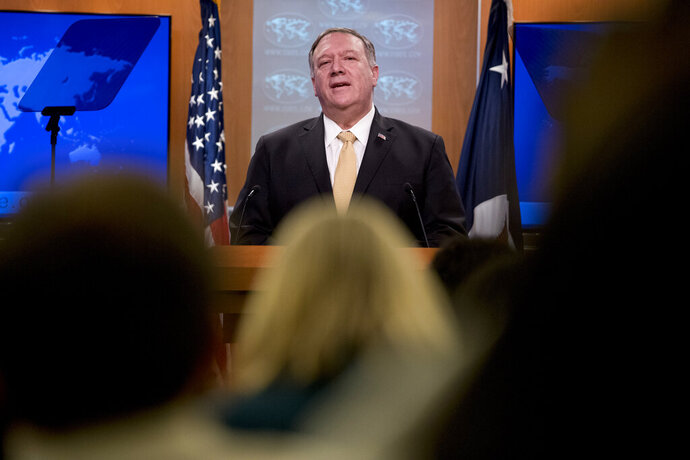 Secretary of State Mike Pompeo speaks at a news conference at the State Department in Washington, Monday, Nov. 18, 2019. Pompeo spoke about Iran, Iraq, Israeli settlements in the West Bank, protests in Hong Kong, and Bolivia, among other topics. (AP Photo/Andrew Harnik)