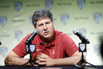Washington State head coach Mike Leach answers questions during the Pac-12 Conference NCAA college football Media Day Wednesday, July 24, 2019, in Los Angeles. (AP Photo/Marcio Jose Sanchez)