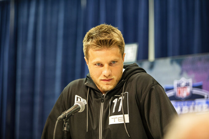 Adam Trautman talks to the media at the NFL Scouting Combine on Tuesday, Feb. 25, 2020 in Indianapolis. (Detroit Lions via AP)