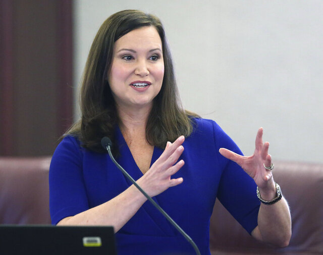 In this Oct. 29, 2019 file photo, Florida's attorney general Ashley Moody speaks at a news conference in Tallahassee, Fla. Moody filed 50 investigative subpoenas to identify sellers as part of price-gouging investigation. (AP Photo/Steve Cannon, File)
