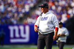 New York Giants head coach Joe Judge calls to his players during the first half of an NFL football game against the Denver Broncos, Sunday, Sept. 12, 2021, in East Rutherford, N.J. (AP Photo/Matt Rourke)