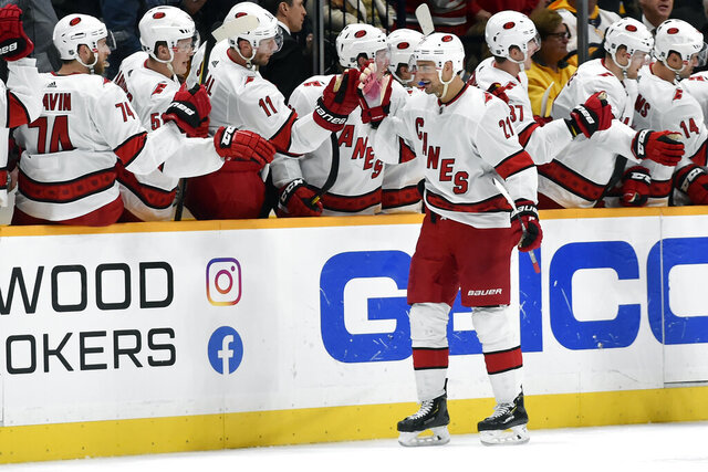 Carolina Hurricanes right wing Nino Niederreiter (21), of Switzerland, is congratulated after scoring a goal against the Nashville Predators during the second period of an NHL hockey game Tuesday, Feb. 18, 2020, in Nashville, Tenn. (AP Photo/Mark Zaleski)