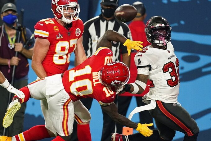 Tampa Bay Buccaneers safety Mike Edwards breaks up a pass intended for Kansas City Chiefs wide receiver Tyreek Hill during the first half of the NFL Super Bowl 55 football game Sunday, Feb. 7, 2021, in Tampa, Fla. (AP Photo/Ashley Landis)
