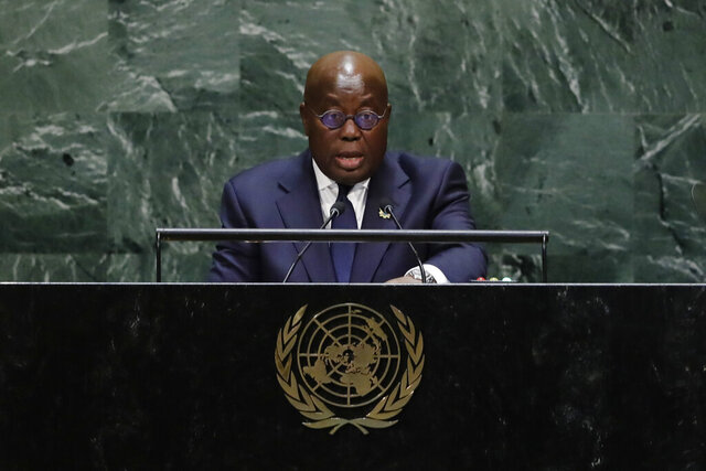 FILE- In this Sept. 25 2019 file photo, Ghana's President Nana Addo Dankwa Akufo-Addo addresses the 74th session of the United Nations General Assembly at the United Nations headquarters. Ghanaians head to the polls for general elections on Monday Dec. 7 2020 that many contend will be a close race between the current head of state and a former president who have faced off twice before in one of the continent's most politically stable countries. The vote is also seen as a test of democracy for the West African nation whose regional neighbors Guinea and Ivory Coast saw leaders hold onto power for third terms after constitutional changes. Whoever wins Ghana's election will serve their second and final term. (AP Photo/Frank Franklin II, file)