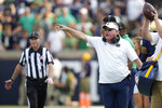 Notre Dame head coach Brian Kelly gestures from the sideline during the second half of an NCAA college football game against Toledo in South Bend, Ind., Saturday, Sept. 11, 2021. Notre Dame won 32-29. (AP Photo/AJ Mast)