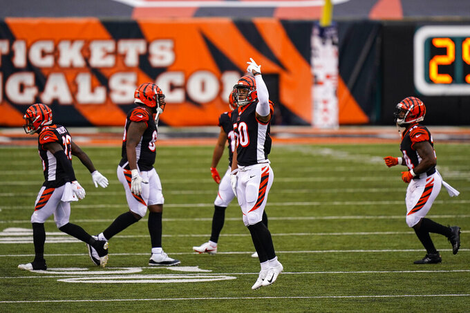 Cincinnati Bengals outside linebacker Jordan Evans (50) celebrates late in the second half of an NFL football game against the Jacksonville Jaguars in Cincinnati, Sunday, Oct. 4, 2020. The Bengals defeated the Jaguars 33-25. (AP Photo/Bryan Woolston)
