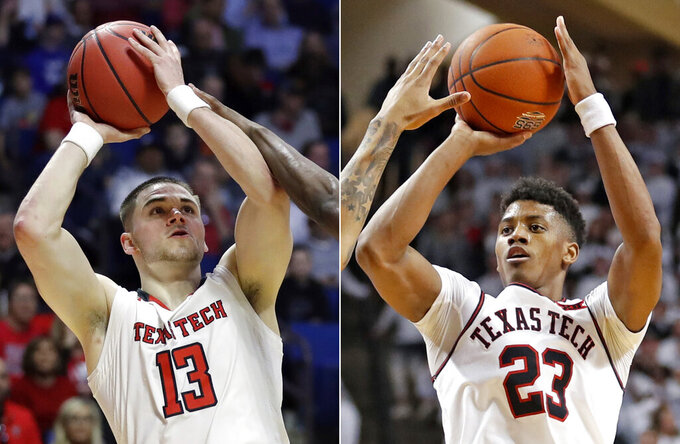 FILE - At left, in a March 22, 2019, file photo, Texas Tech guard Matt Mooney (13) shoots against Northern Kentucky during the second half of a first round men's college basketball game in the NCAA Tournament, in Tulsa, Okla. At right, in a Feb. 23, 2019, file photo, Texas Tech guard Jarrett Culver (23) shoots against Kansas during the second half of an NCAA college basketball game, in Lubbock, Texas. Texas Tech has gotten to its first Final Four with contrasting guards. Culver is the sophomore standout, Mooney is a graduate transfer. (AP Photo/File)