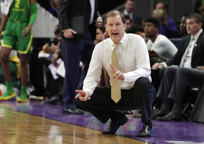 Oregon head coach Dana Altman reacts on the sideline during the first half of a first-round game  against Wisconsin in the NCAA men's college basketball tournament Friday, March 22, 2019, in San Jose, Calif. (AP Photo/Chris Carlson)