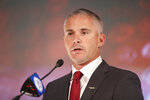 Florida State head coach Mike Norvell speaks during an NCAA college football news conference at the Atlantic Coast Conference media days in Charlotte, N.C., Thursday, July 22, 2021. (AP Photo/Nell Redmond)