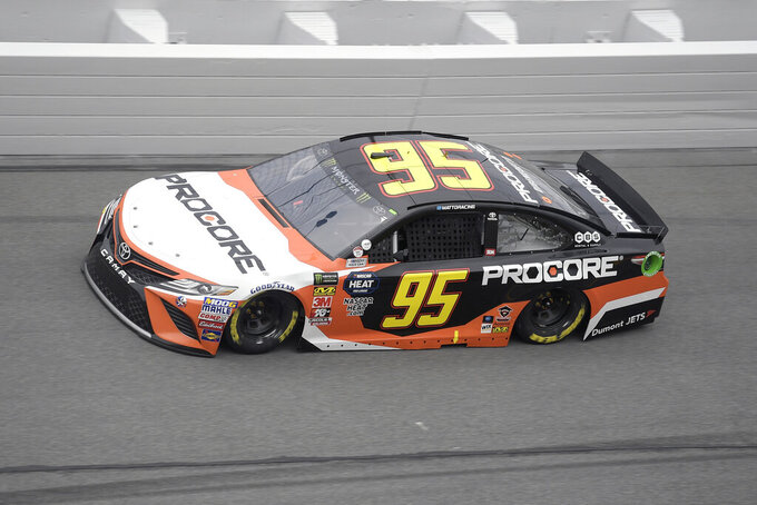 File - In this Feb. 10, 2019, file photo, Matt DiBenedetto (95) makes his way through Turn 4 during qualifying for the NASCAR Daytona 500 auto race at Daytona International Speedway in Daytona Beach, Fla. DiBenedetto drove his Leavine Family Racing Toyota at the Sprint Cup Series auto race in Sonoma, Calif., Sunday, June 23, 2019, to his first top-five finish in the 156th career start of a career spent with underfunded, back-of-the-pack teams. (AP Photo/Phelan M. Ebenhack, File)
