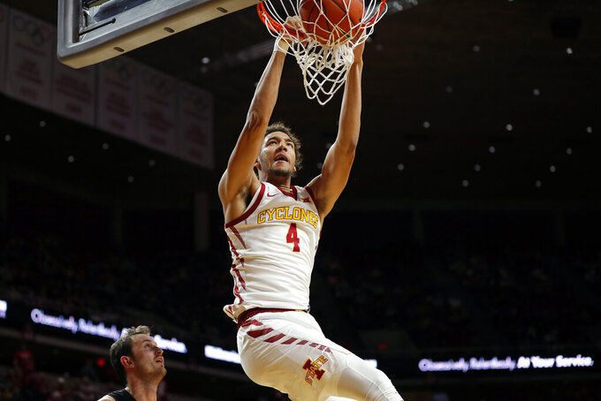 Iowa State forward George Conditt (4) dunks during the first half of an NCAA college basketball game against Purdue Fort Wayne, Sunday, Dec. 22, 2019, in Ames, Iowa. (AP Photo/Matthew Putney)