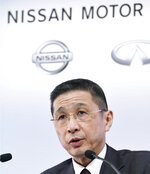 Nissan Motor Co. President and Chief Executive Officer Hiroto Saikawa speaks during a press conference at its Global Headquarter in Yokohama, near Tokyo, Tuesday, Feb. 12, 2019. Nissan reported a drop in third quarter profit to about a fourth of the previous year's, mainly because U.S. tax reforms had lifted profits a year earlier. Nissan has been rocked recently by the arrest of its former chairman, Carlos Ghosn, on charges of financial misconduct. (Akiko Matsushita/Kyodo News via AP)