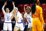 UCLA guard Lindsey Corsaro, second from left, reacts after making a 3-pointer in the second half of a first-round game against Tennessee in the NCAA women's college basketball tournament, Saturday, March 23, 2019, in College Park, Md. UCLA won 89-77. (AP Photo/Patrick Semansky)