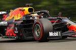 Red Bull driver Max Verstappen of the Netherlands steers his car during the first practice session prior to the Formula One Grand Prix at the Spa-Francorchamps racetrack in Spa, Belgium, Friday, Aug. 27, 2021. The Belgian Formula One Grand Prix will take place on Sunday. (AP Photo/Francisco Seco)