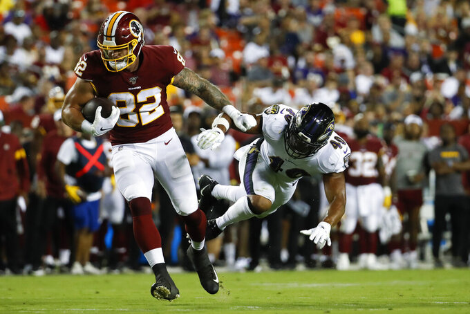 Washington Redskins running back Craig Reynolds (22) gets away from Baltimore Ravens defensive back Anthony Levine (41) during the first half of an NFL preseason football game Thursday, Aug. 29, 2019, in Landover, Md. (AP Photo/Alex Brandon)