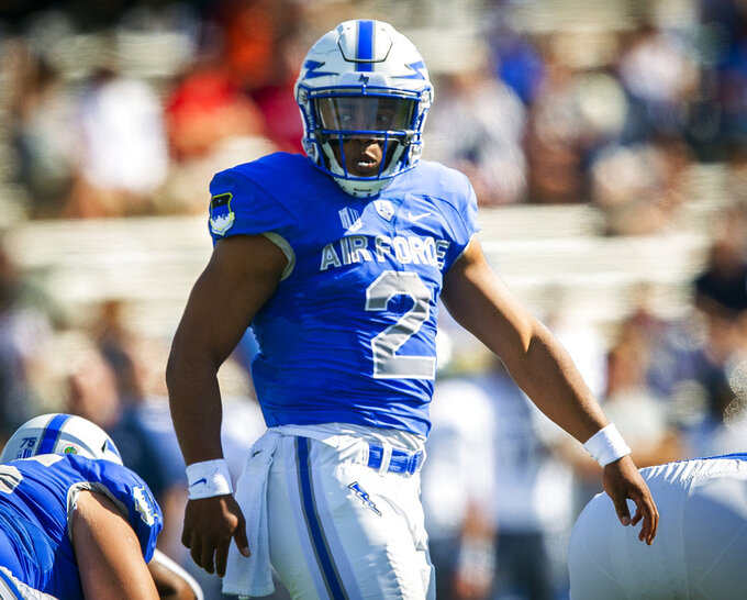 Air Force quarterback Arion Worthman (2) looks back for the next play against Nevada during the first half of an NCAA college football game, Saturday, Sept. 29, 2018 in Colorado Springs, Colo. (Dougal Brownlie/The Gazette via AP)